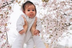Portrait of happy joyful child in white clothes over tree flowers blossom background. Family playing together outside. Mom royalty free stock image