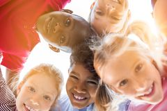 Happy children in circle stock image