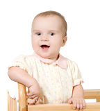 Portrait of happy laughing baby. Studio shot on white background Royalty Free Stock Photo
