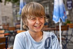Portrait of happy laughing young boy Royalty Free Stock Photos