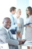 Business leader with touchpad Royalty Free Stock Photography