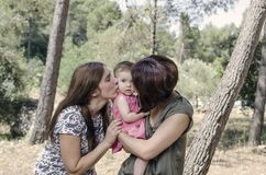 Portrait of happy lesbians mothers with a baby.  Homosexual fami. Ly in a countryside Stock Photography