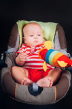 Portrait of happy little baby boy in stroller. Royalty Free Stock Images