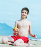Portrait of happy little boy  on the beach Royalty Free Stock Photos