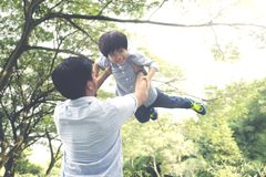 Happy little boy playing with his father. Portrait of happy little boy being lifted by his father while playing together in the park stock photo