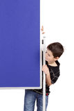 Portrait of happy little boy with blue blank board Stock Photography