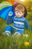 Portrait of a happy little boy in the park Stock Image