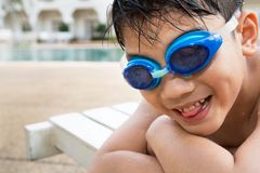 Portrait of happy little boy ready to swimming Royalty Free Stock Photo