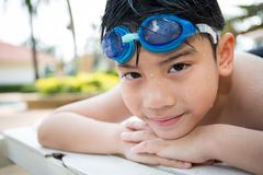 Portrait of happy little boy ready to swimming Royalty Free Stock Photos