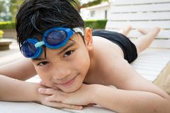 Portrait of happy little boy ready to swimming Stock Photography
