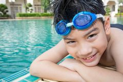 Portrait of happy little boy ready to swimming Royalty Free Stock Image