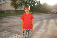Portrait of happy little boy outdoors royalty free stock images