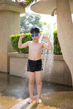 Portrait of happy little boy take a bath before swimming Royalty Free Stock Images