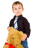 Portrait of a happy little boy with toy Stock Photos
