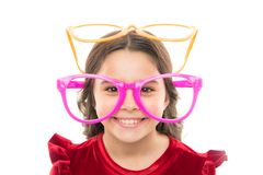 Portrait of happy little child. Birthday party. Little girl in party glasses. small girl greeting summer. Childhood and. Happiness. Childrens day. Kid fashion royalty free stock image