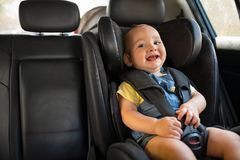 Little boy enjoy car ride stock photography