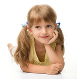Portrait of a happy little girl stock images