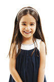 Portrait of a happy little girl close-up. Isolated on white background Royalty Free Stock Images