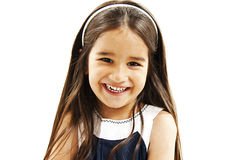 Portrait of a happy little girl close-up. Isolated on white background Royalty Free Stock Photos