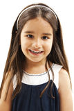 Portrait of a happy little girl close-up. Isolated on white background Stock Photos