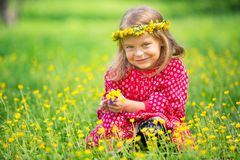 Little girl in spring park. Portrait of happy little girl on a flower field Royalty Free Stock Photography