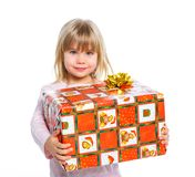 Portrait of happy little girl with gift box Stock Photography