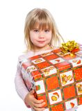 Portrait of happy little girl with gift box Stock Photo