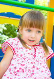 Portrait of a happy little girl outdoors. Summer portrait of a happy little girl outdoors Royalty Free Stock Image