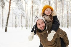 Father and Daughter in Winter stock photos