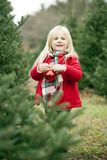 Portrait of happy little girl standing with bauble stock image