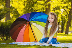 Portrait of a happy little girl with umbrella Royalty Free Stock Photos