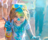 Portrait of happy litttle girl on holi color festival Stock Image