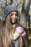 Portrait of happy lovely teenage girl  in the forest Royalty Free Stock Image