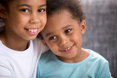 Portrait of happy loving brother and sister royalty free stock photos