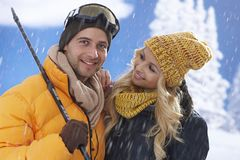 Portrait of happy loving couple at wintertime Stock Photo