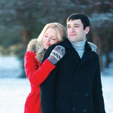 Portrait happy loving young couple together in winter Royalty Free Stock Photo