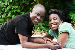 Portrait of happy lying couple. Royalty Free Stock Photography