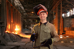 Portrait of a happy male welder Stock Photo