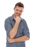 Portrait of happy man. Portrait of confident happy man in blue shirt royalty free stock photography