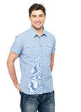 Portrait of happy man in blue casual shirt Royalty Free Stock Image