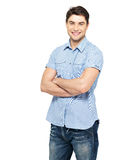 Portrait of happy man in blue casual shirt Stock Image
