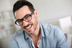 Portrait of happy man with eyeglasses stock photo
