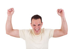 Portrait of a happy  man with his arms raised Stock Image