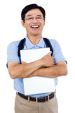 Portrait of happy man holding documents Royalty Free Stock Photography