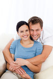 Portrait of a happy man hugging his girlfriend Royalty Free Stock Photos