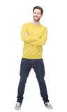 Portrait of a happy man smiling with yellow shirt Stock Image