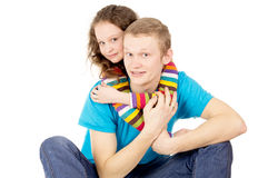 Portrait of a happy man and a teenager. Portrait of a happy men and teen girl Stock Images