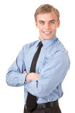 Portrait of a happy manager in the blue shirt Stock Image