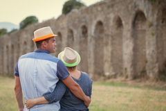Portrait of happy married couple in hats Royalty Free Stock Photo