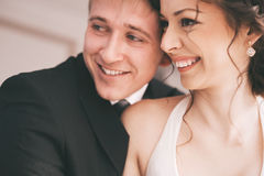 Portrait of happy married couple in room Stock Photography